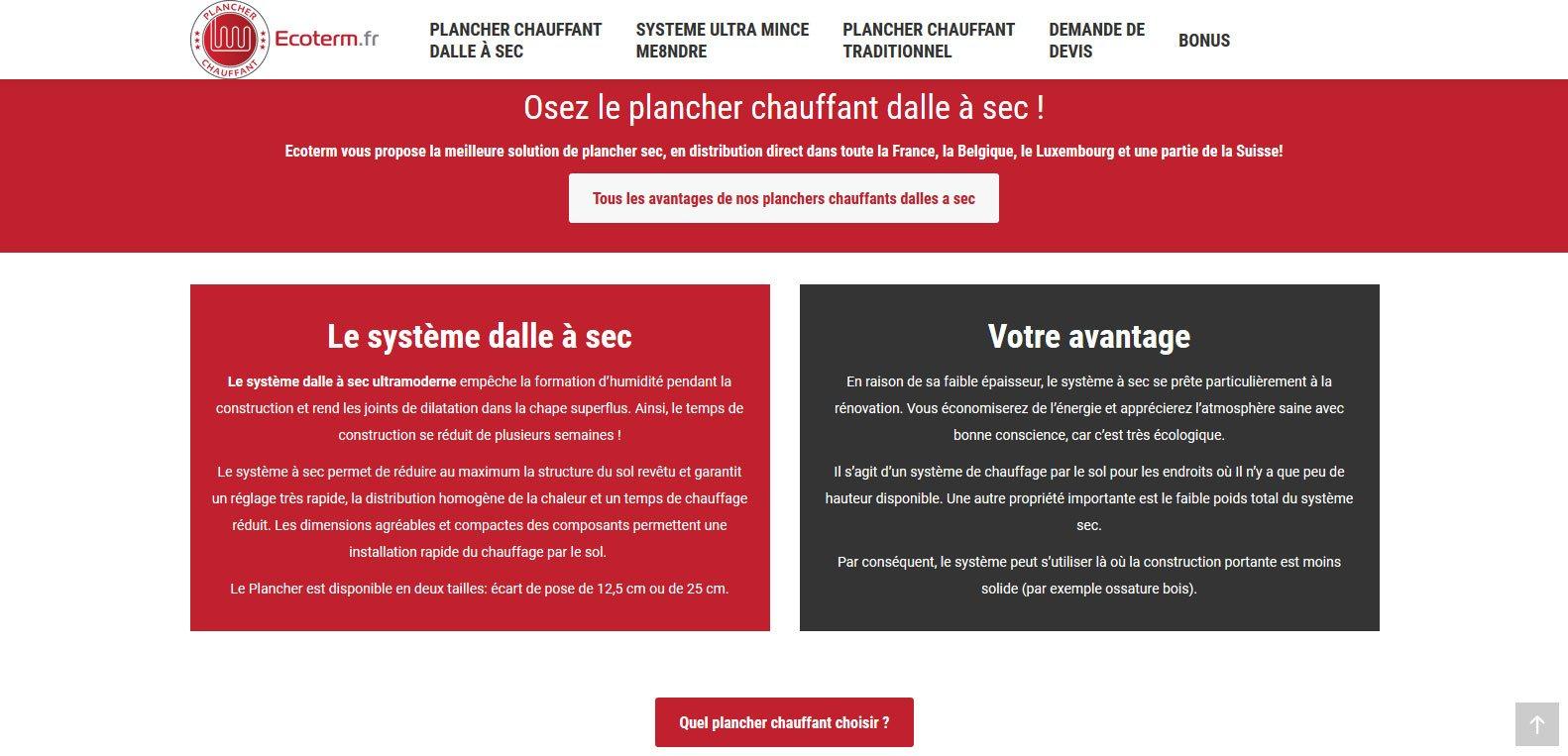 Pourquoi choisir le plancher chauffant ecoterm ? Client Karedess, agence web situé à Mulhouse