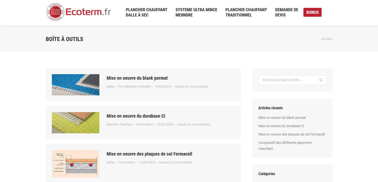 Boîte à outils Ecoterm, articles de blog, client Karedess, agence web situé à Mulhouse