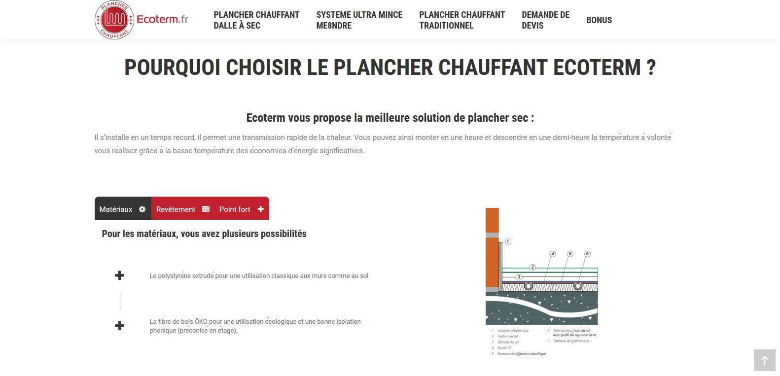 Quel plancher chauffant choisir ? Ecoterm, client Karedess, agence web situé à Mulhouse, vous explique.