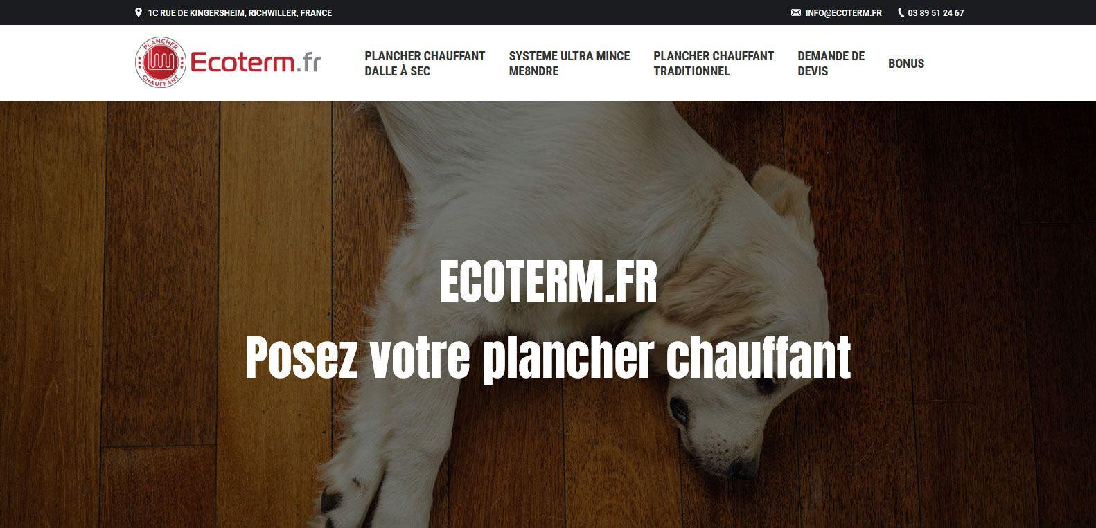 Ecoterm, posez votre plancher chauffant, client Karedess, agence web situé à Mulhouse