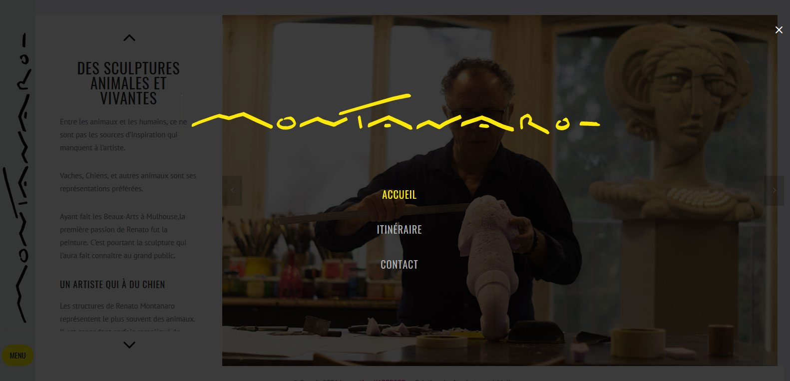 Menu renato Montanaro, artiste peintre, client de Karedess agency, site web depuis 2006, à Mulhouse