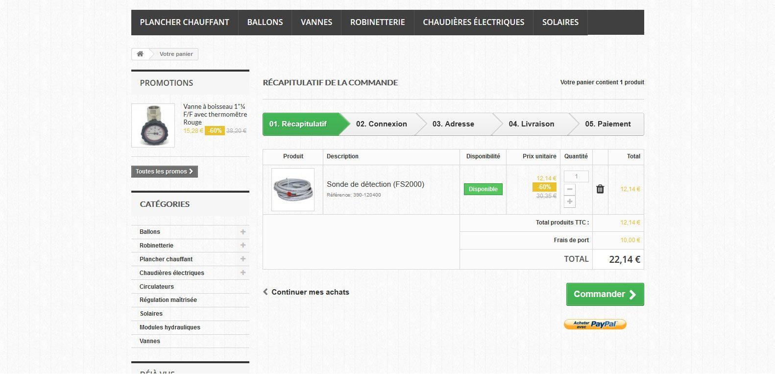 Panier d'achat - chauffage discount - client Karedess - agence web situé à mulhouse