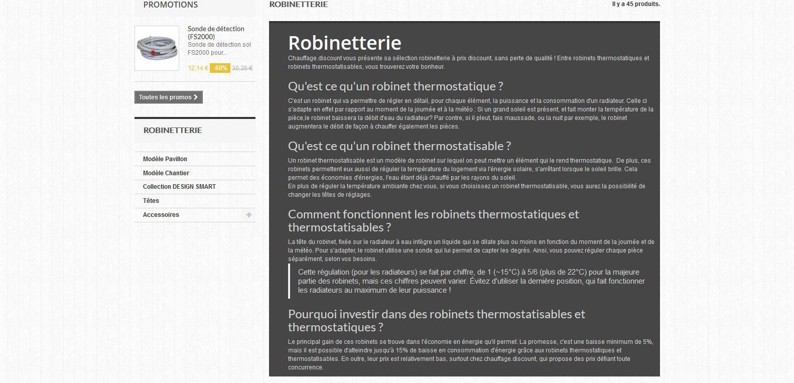 Plus d'informations sur la robinetterie chauffage discount. Client Karedess agency, agence web depuis 2006 à Mulhouse