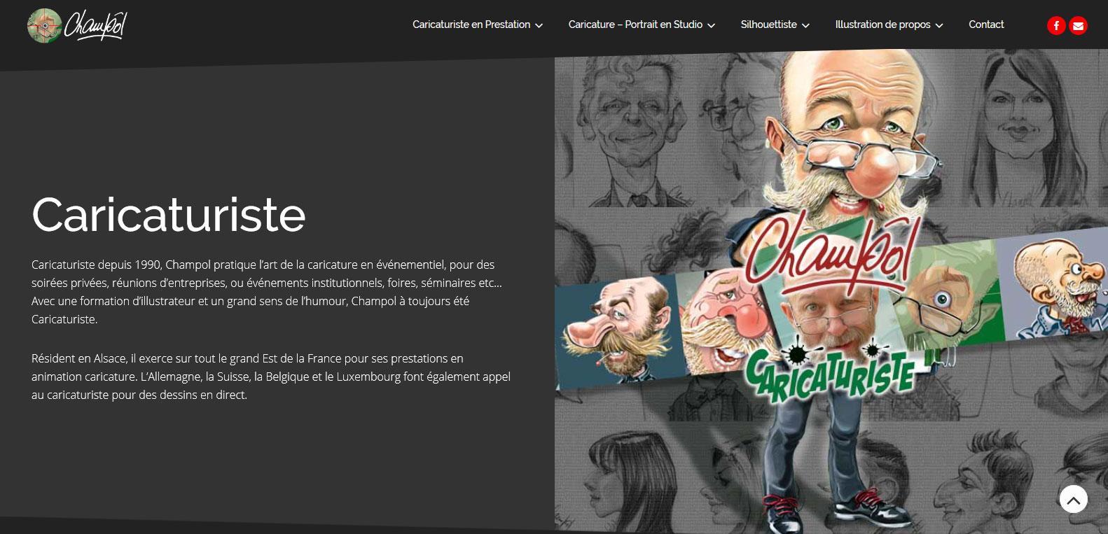 Champol, caricaturiste depuis 1990 et client fidèle de Karedess agency, agence web situé à Mulhouse
