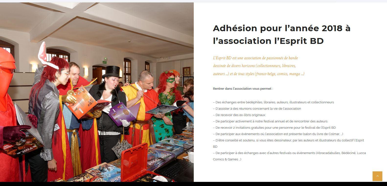 Adhésion pour l'année 2018 à l'association l'Esprit BD. Un client Karedess, agence web à Mulhouse
