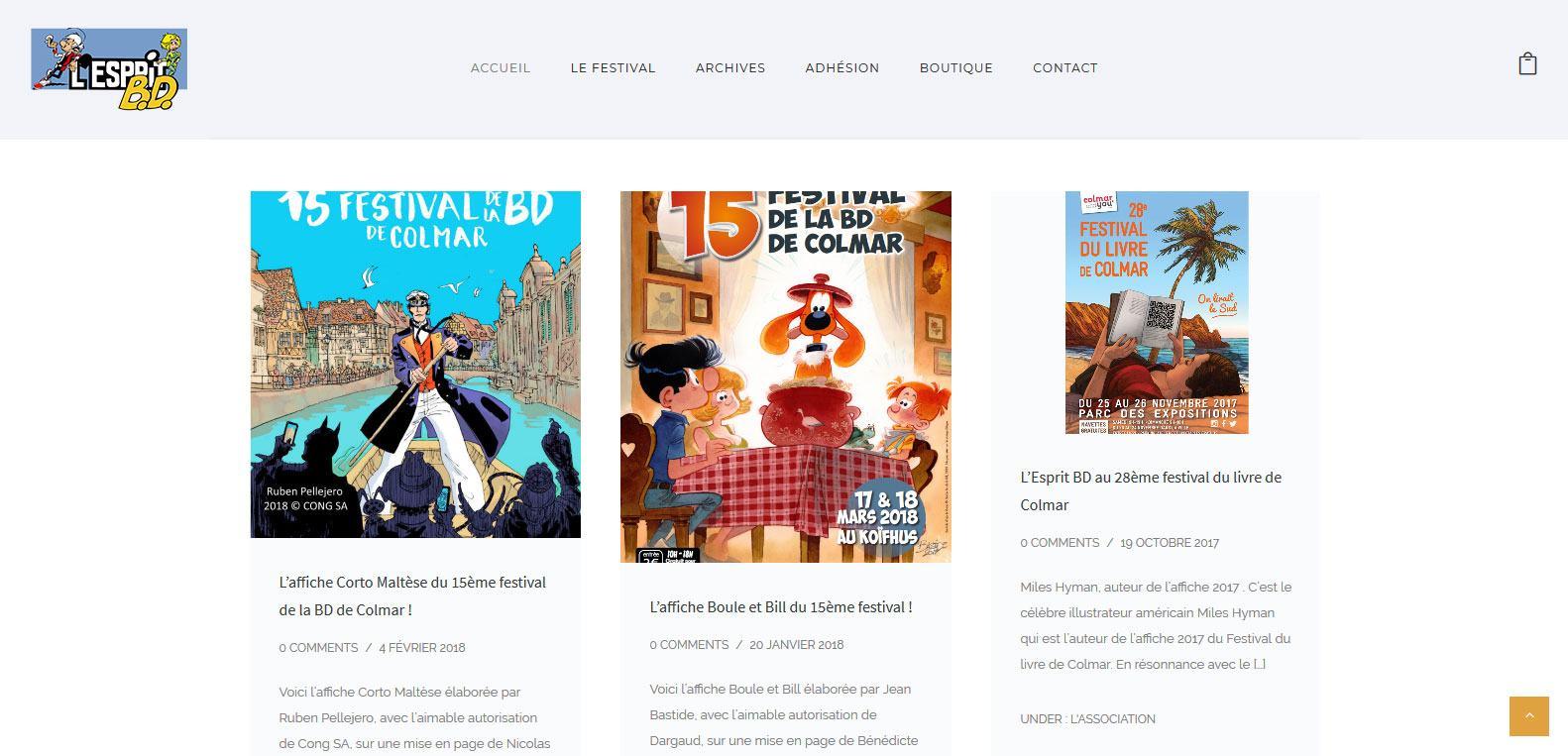 Les bds à l'affiche du 15ème festival d'esprit bd. Client Karedess, agence web à Mulhouse