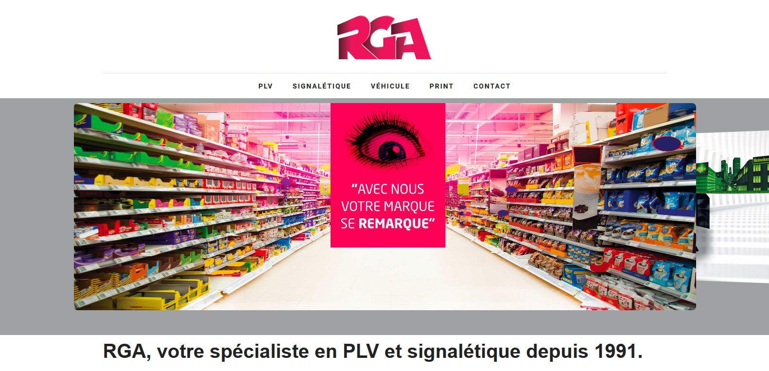 Site web de RGA, spécialiste en PLV et signalétique. Client Karedess, une agence web situé à Mulhouse