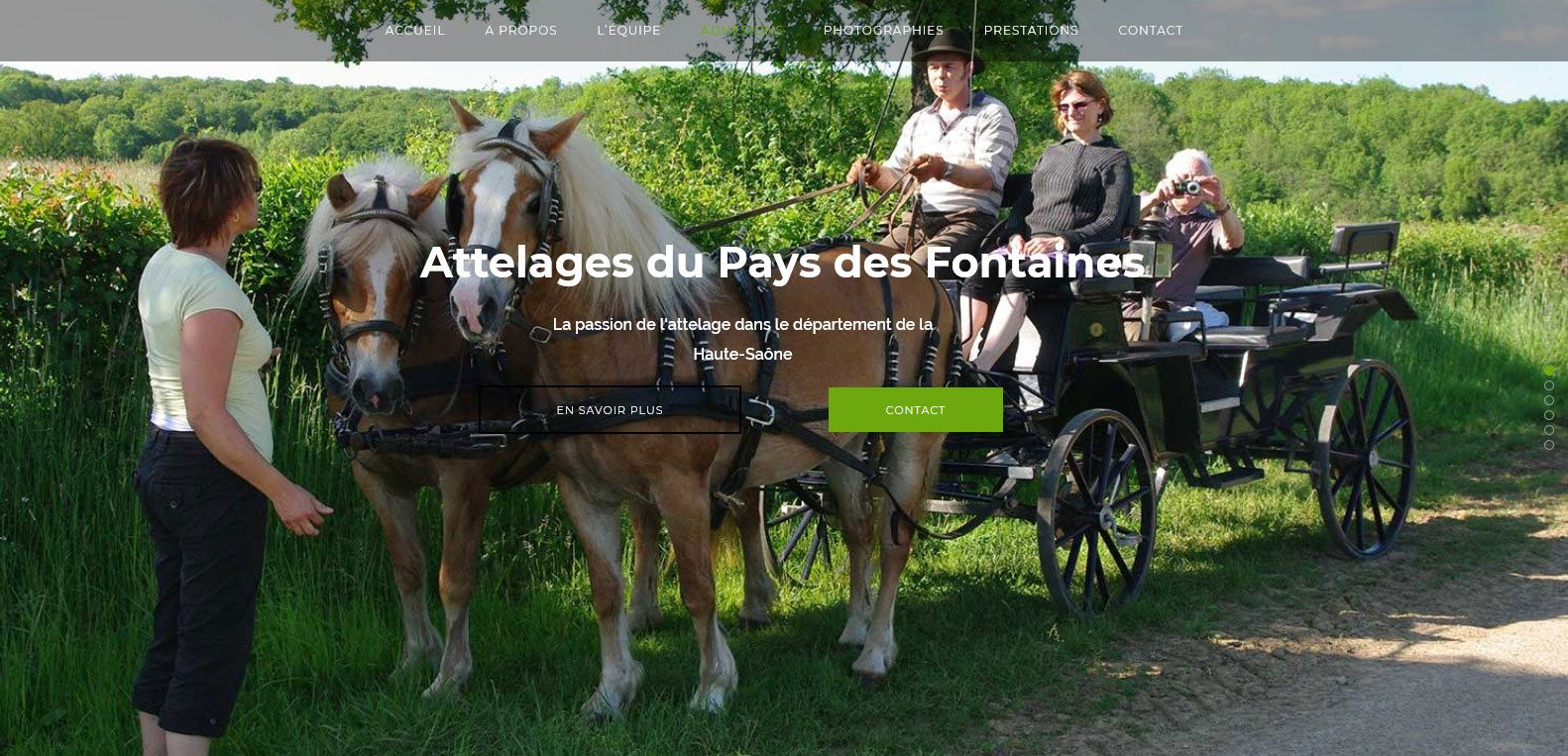 Site web d'attelage 70, client Karedess, agence web situé à Mulhouse