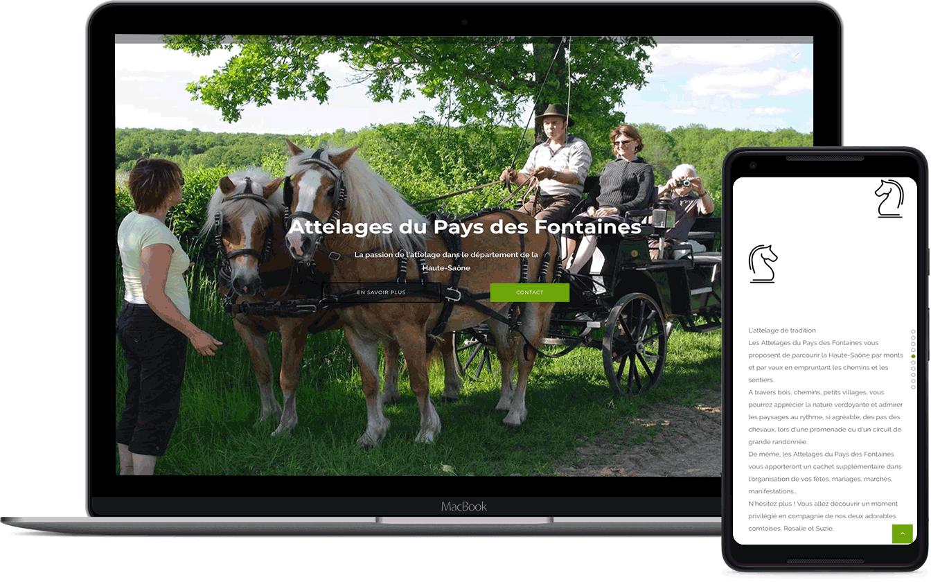 attelages du pays des fontaines, site client de l'entreprise Karedess, une agence web situé à Mulhouse
