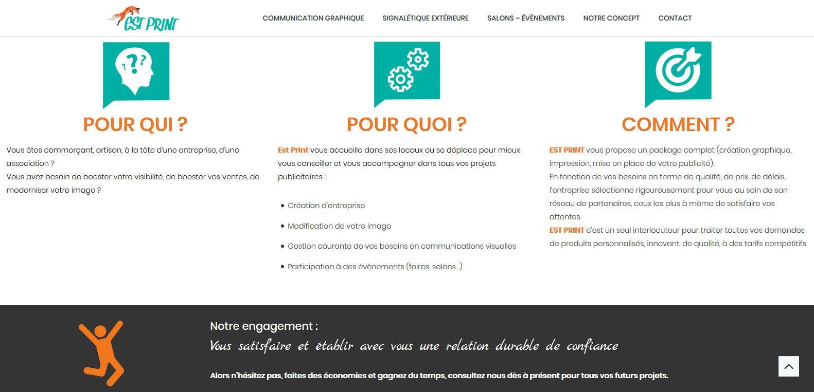 Pour qui / quoi / comment s'oriente l'offre estprint ? client Karedess, agence web, situé près de Mulhouse