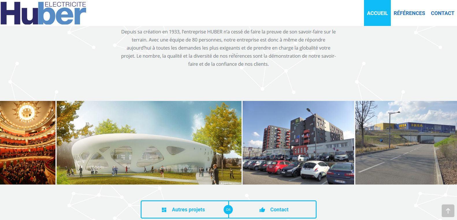 Projets et création huber électricité. Une création Karedess agency, agence web sur Mulhouse.