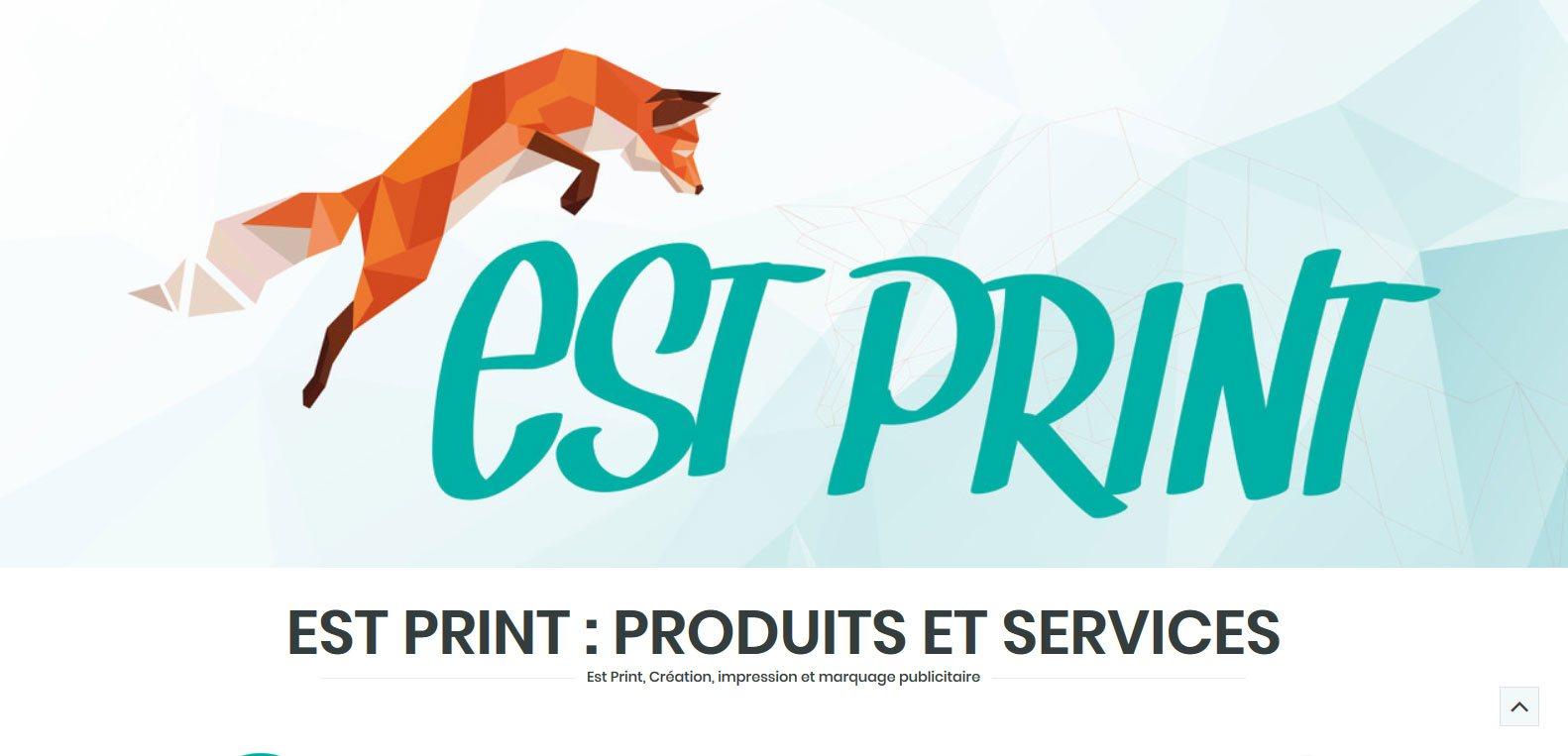 Site web d'estprint - création, impression et marquage publicitaire. Client Karedess, agence web et digitale situé à Mulhouse