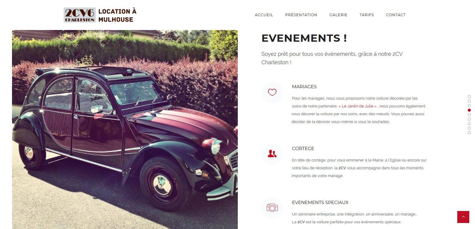 Louer une 2cv à mulhouse pour tous vos évènements ! Un client Karedess, une agence web situé à Mulhouse