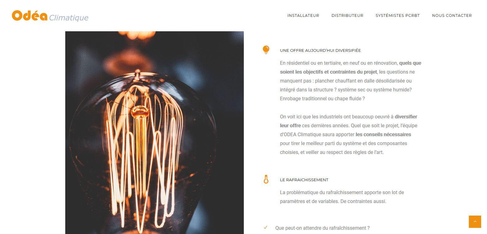Offres et services d'Odea Climatique, client Karedess, agence web situé à Mulhouse