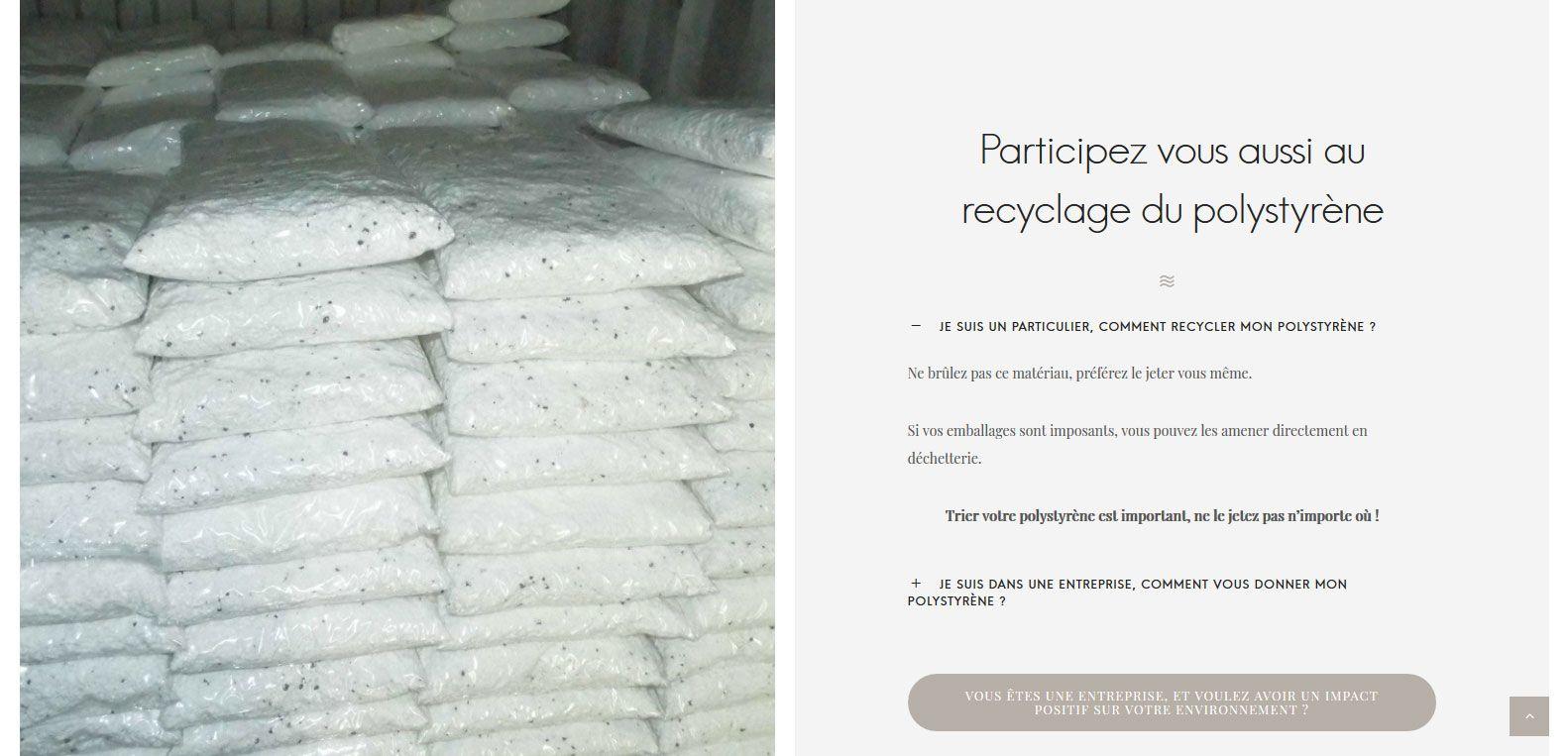Participer au recyclage du polystyrène avec isolation guyane, client Karedess, agence web situé à Mulhouse