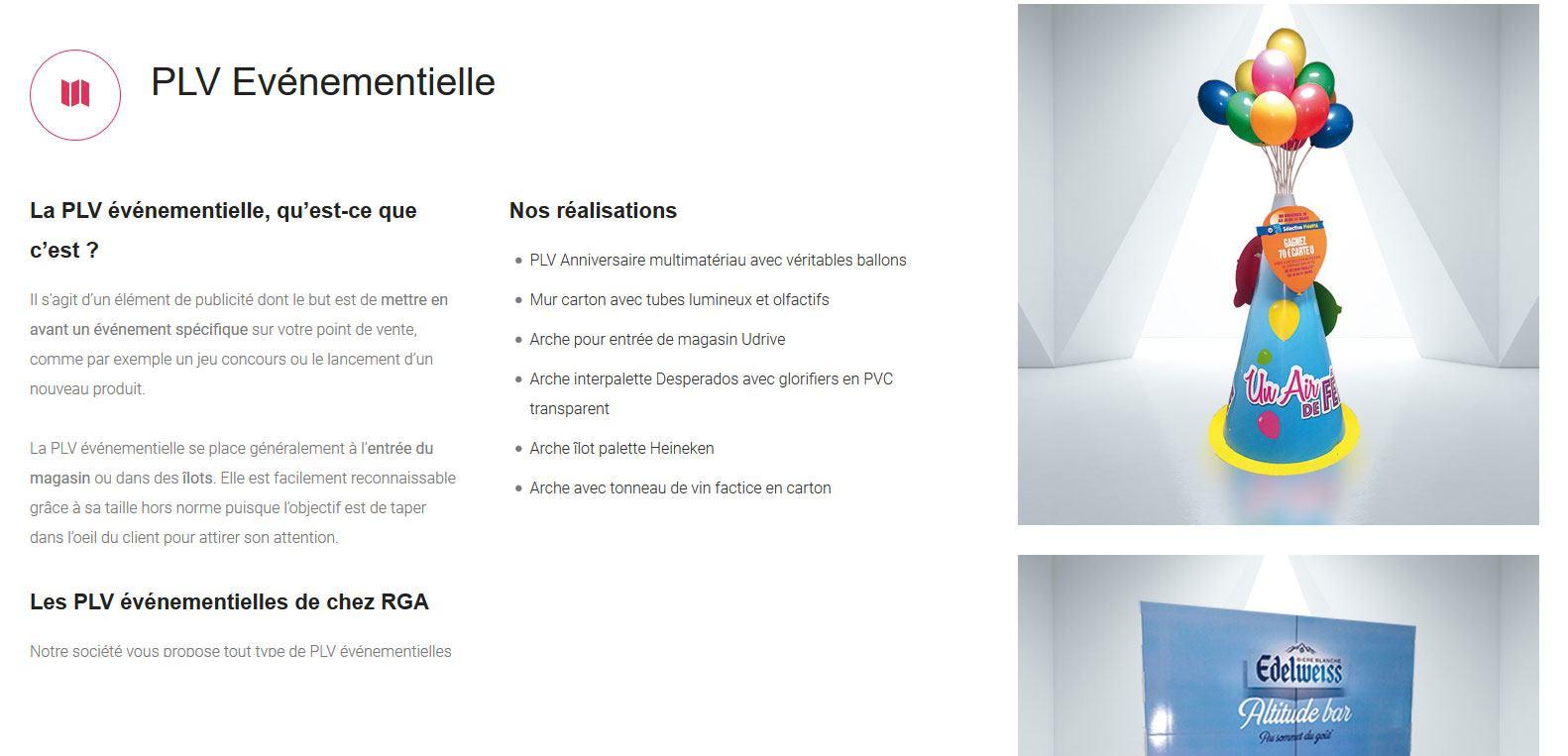 Le PLV événementiel avec RGA. Un client Karedess agency, une agence web situé à Mulhouse