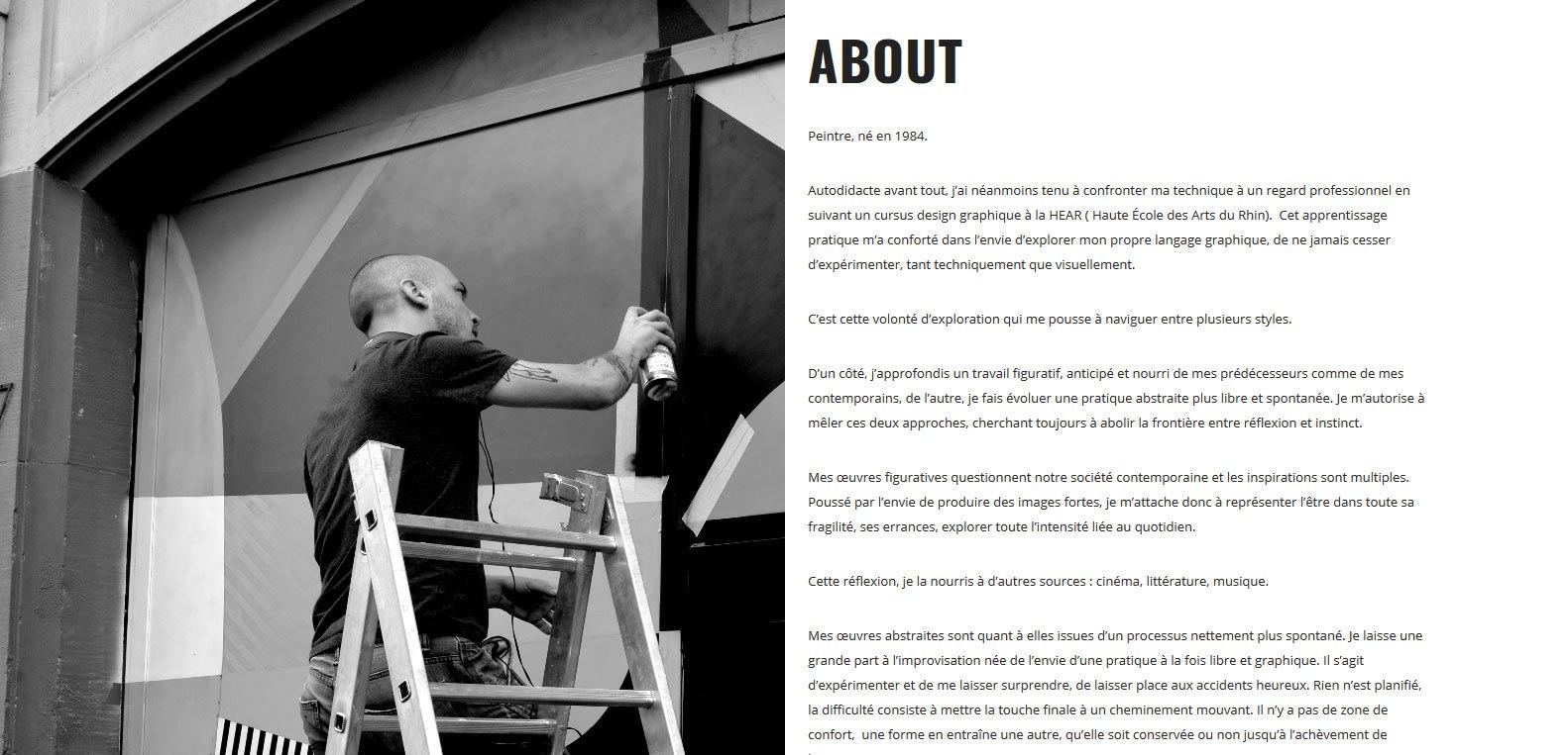 Présentation de Nicolas Blind. Artiste peintre, client Karedess, agence web situé à Mulhouse.