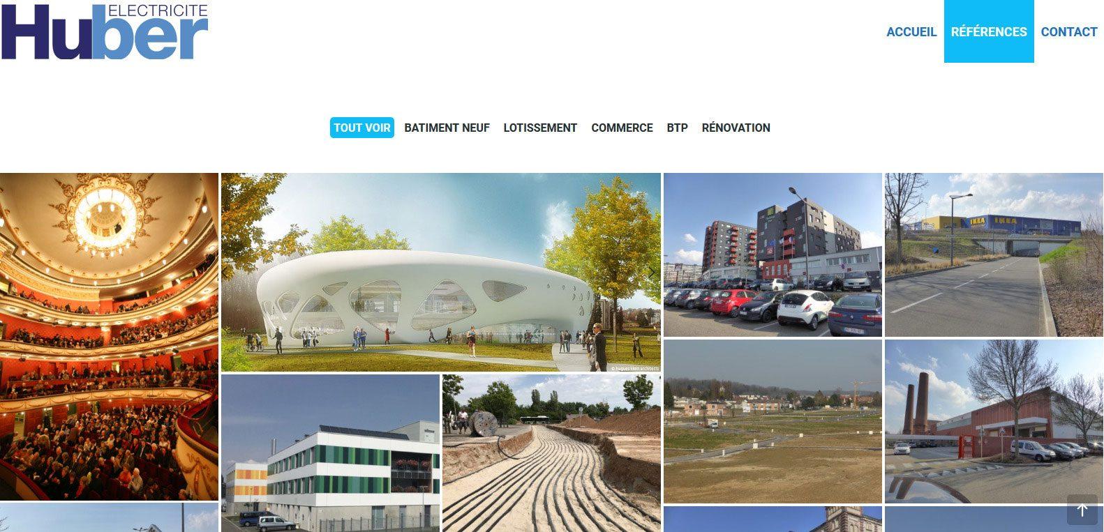 Bâtiments et référence de huber électricité. Client de karedess, agence web sur Mulhouse