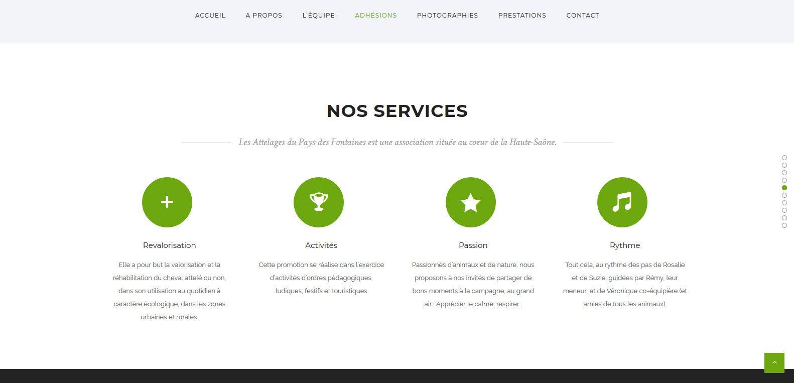 Activités proposées et services d'attelage 70, client Karedess, agence web situé à Mulhouse