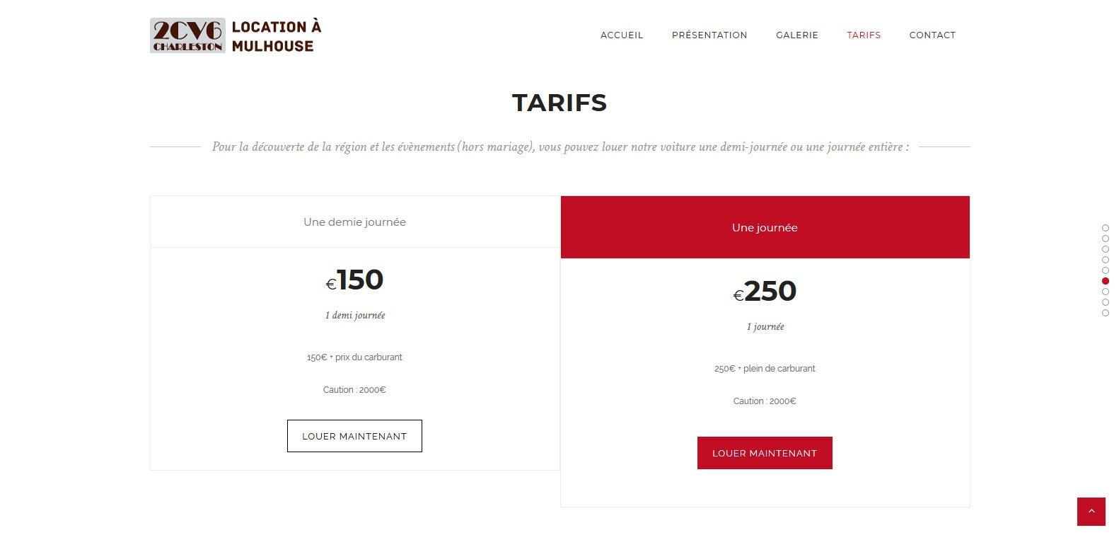 Tarifs de location d'une 2CV à Mulhouse, client Karedess, agence web situé à Mulhouse