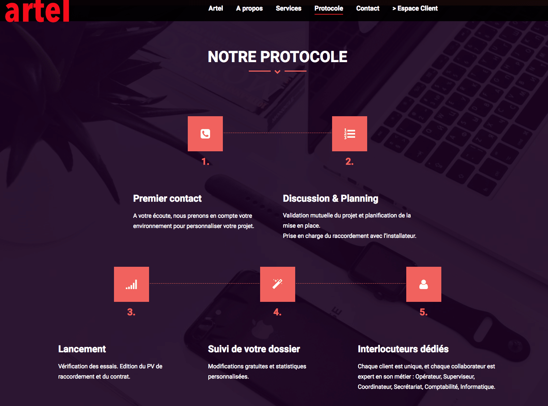 Artel, site client de télésurveillance vous détaille leur protocole. Une réalisation de Kardess, agence web sur Mulhouse