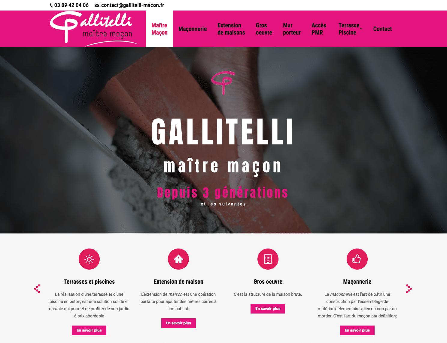 Gallitelli, maître maçon depuis 3 générations à réalisé un site avec l'agence web Karedess sur mulhouse