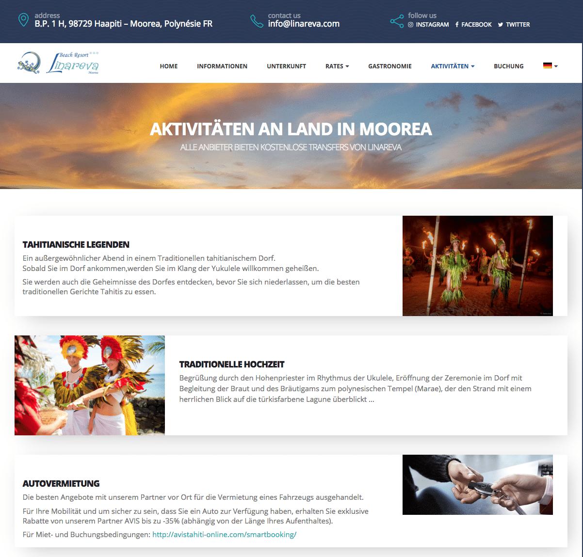 Linareva Moorea Polynésie version Allemande, une création karedess, agence web de Mulhouse