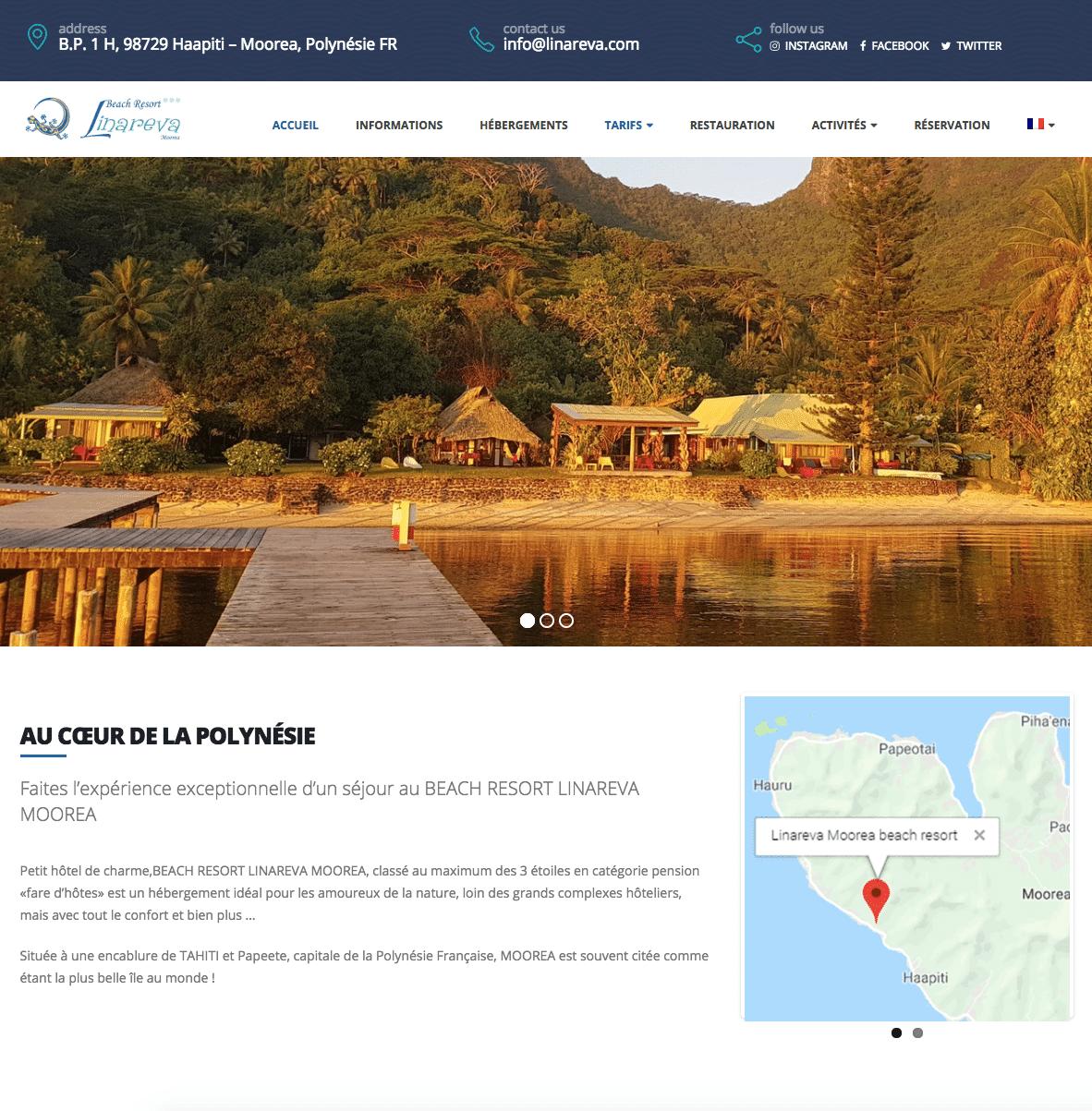karedess, agence web de Mulhouse, à conçu un site de voyage pour Linareva Moorea