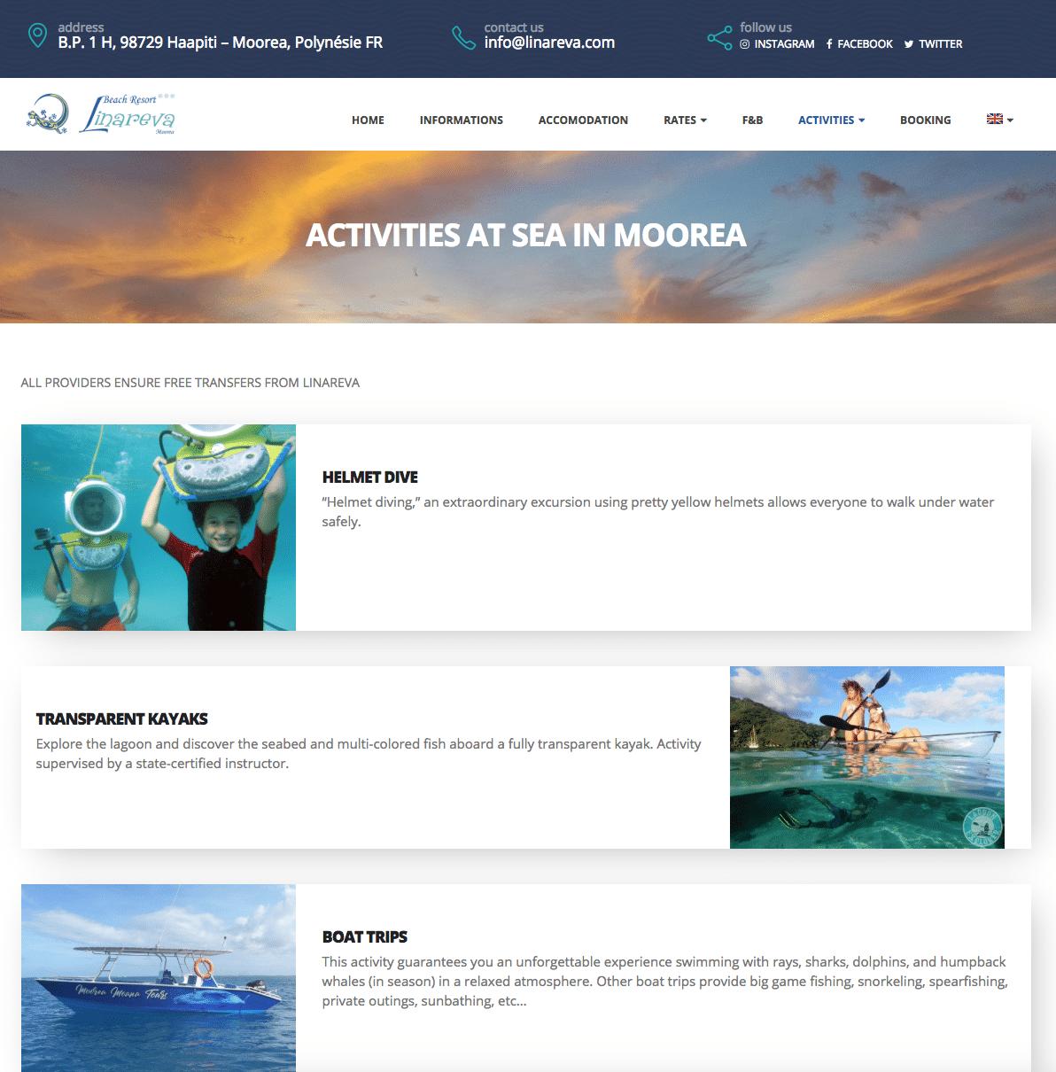 Linareva Moorea, site Polynésie, version anglaise, par Karedess, agence web sur mulhouse