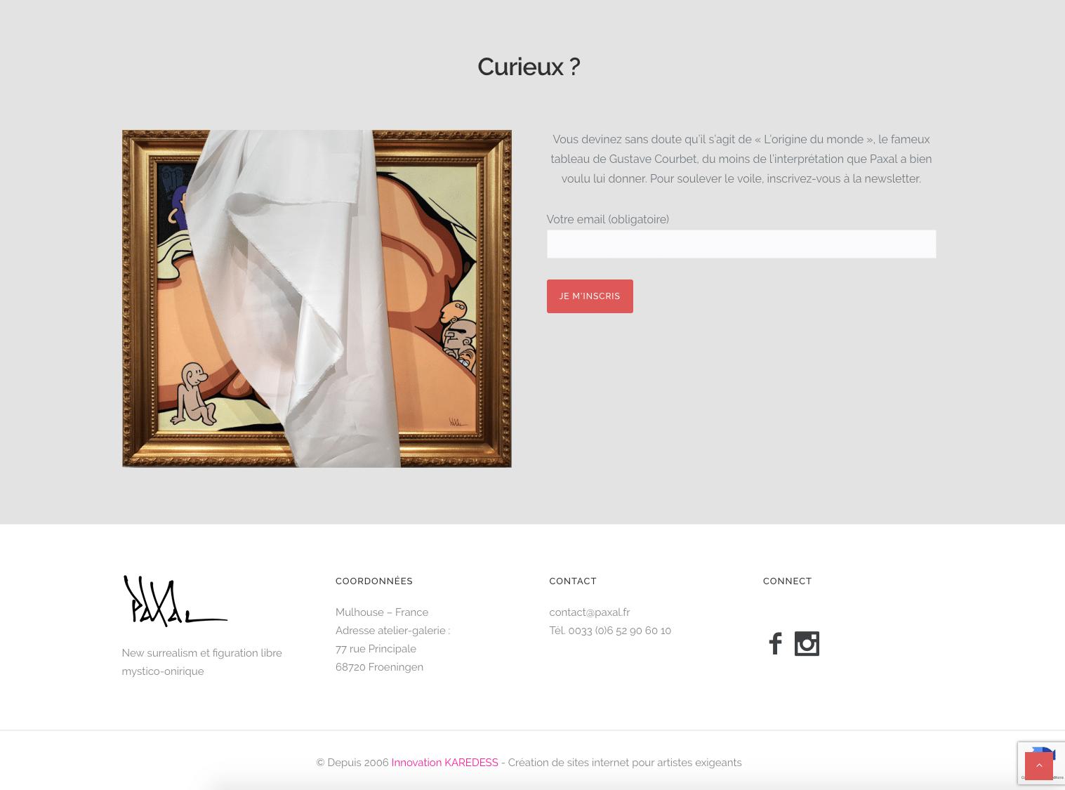 Paxal galeriste, montre son formulaire de contact. Site créé par l'agence web de Mulhouse, Karedess
