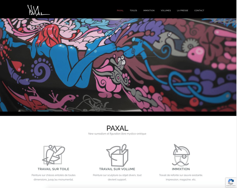 Paxal, artiste contemporain a fait confiance à Karedess, agence web mulhouse, dans la création de son site.