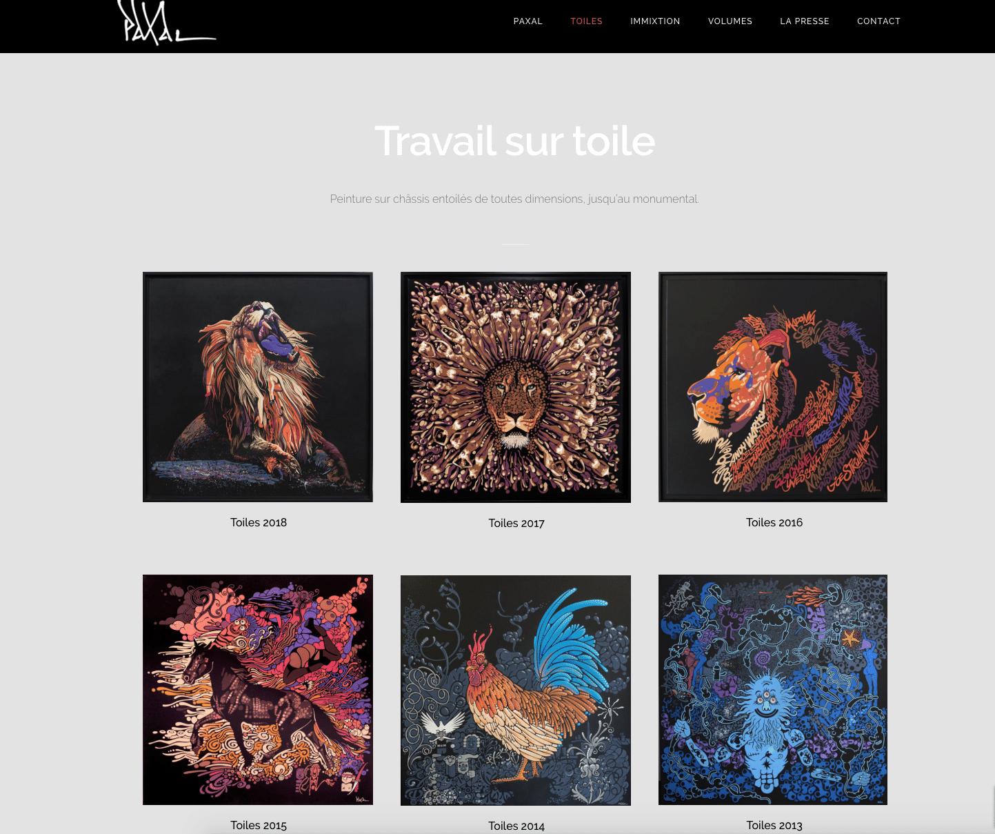 Paxal, galeriste, expose son travail sur toile, évolution de plusieurs années. Un site réalisé par Karedess, agence web à Mulhouse