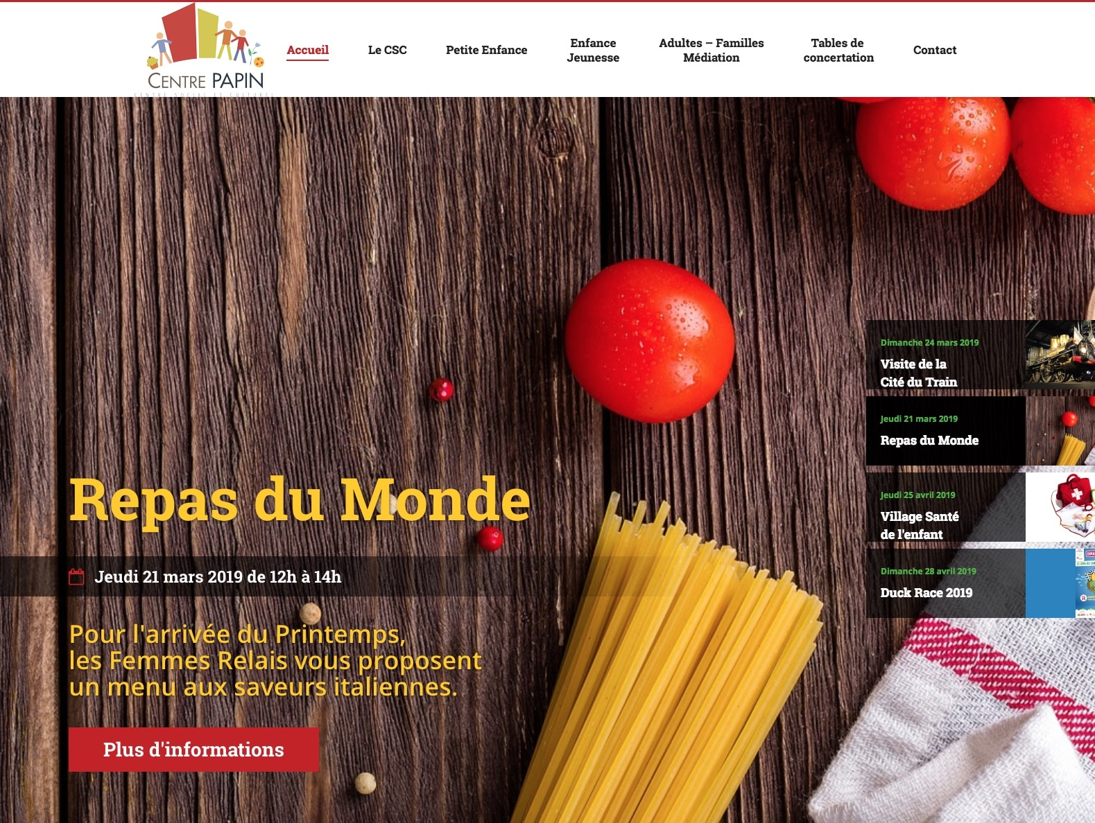 Centre papin, page d'accueil, client de l'agence Karedess expert wordpress sur Mulhouse