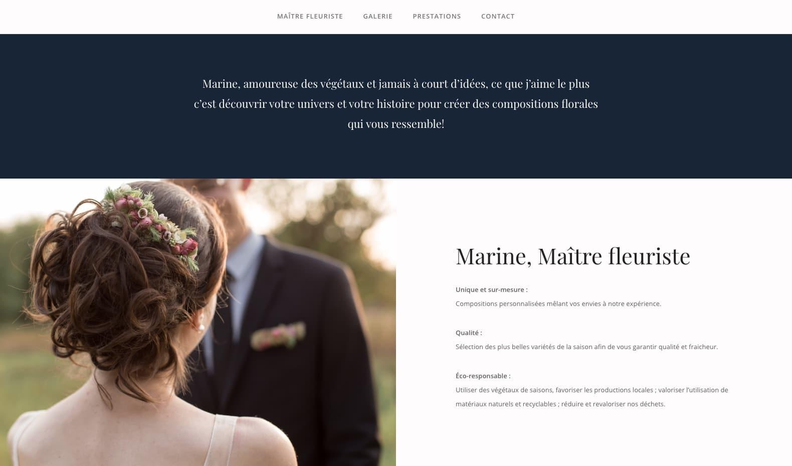 Marine Gross, maître fleuriste, cliente de l'agence web Karedess à Mulhouse
