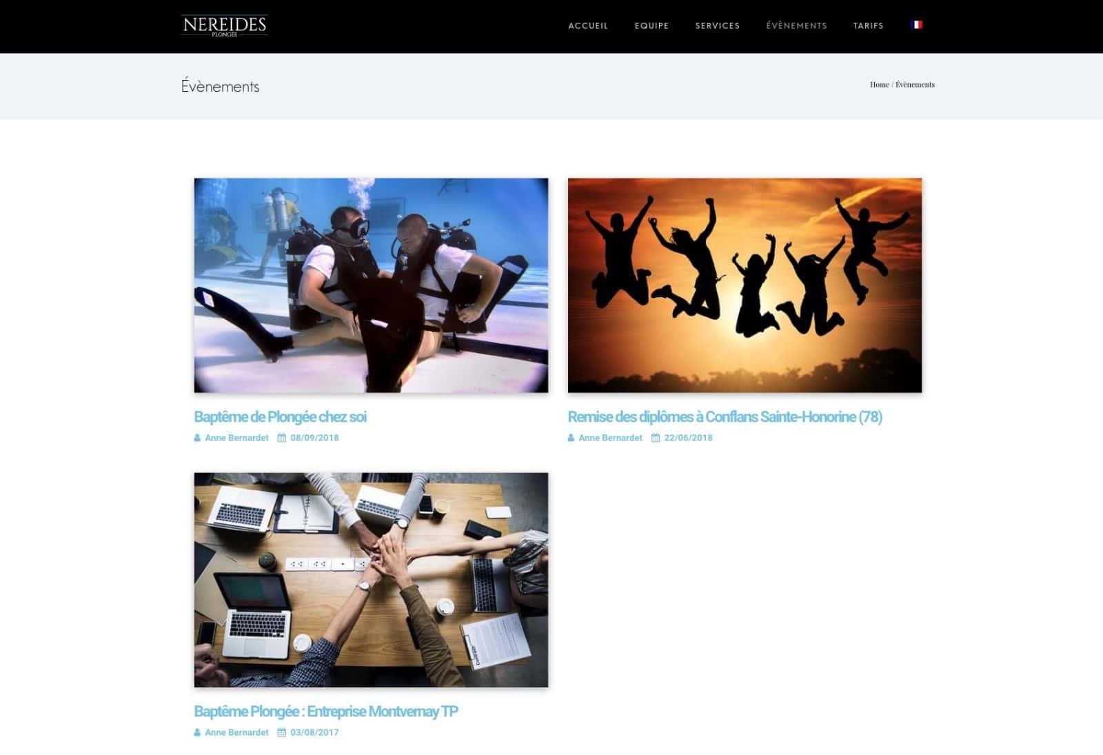 Évènements liés à la plongée, client Karedess Agency expert wordpress