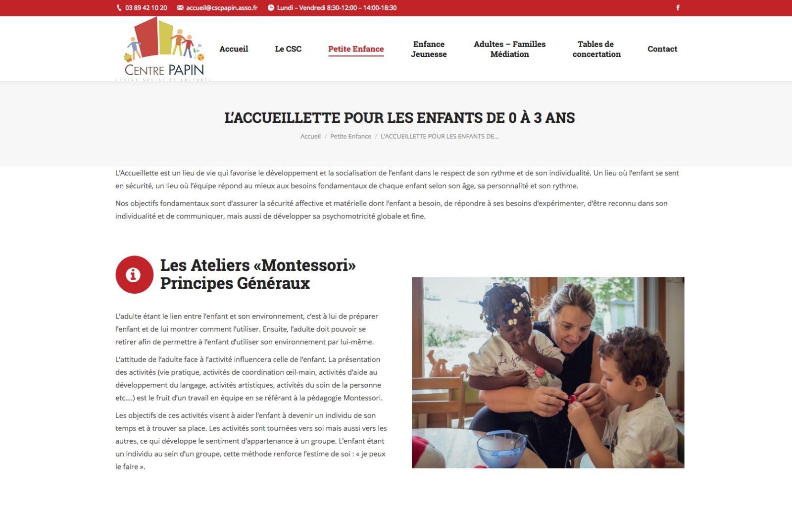 centre papin, accueillette pour les enfants, client Karedess Agency expert wordpress à Mulhouse