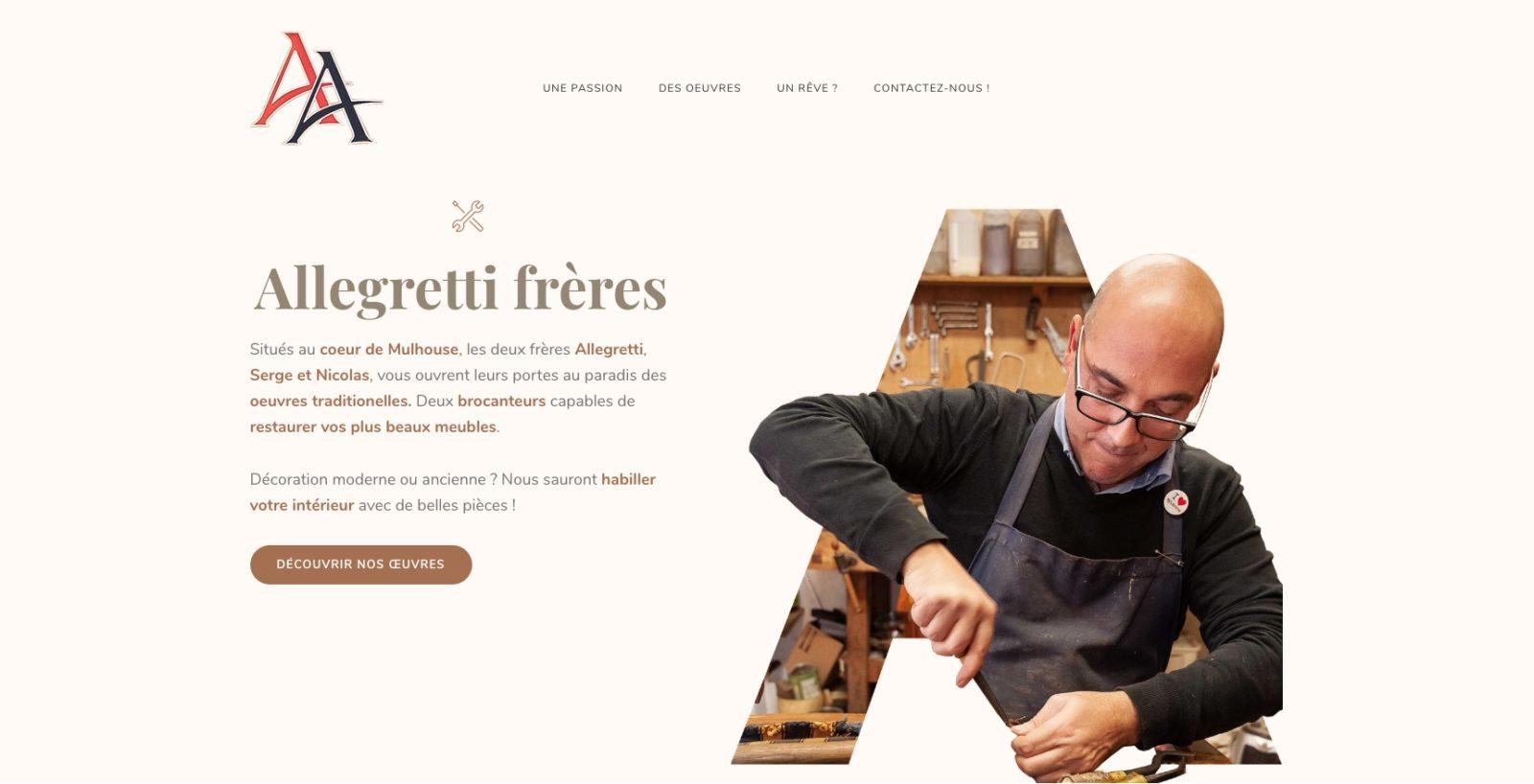 Allegretti frères accueil. Site d'artisan ébénisterie, restaurateur de vos meubles anciens et client de l'agence web et digitale Karedess de Mulhouse