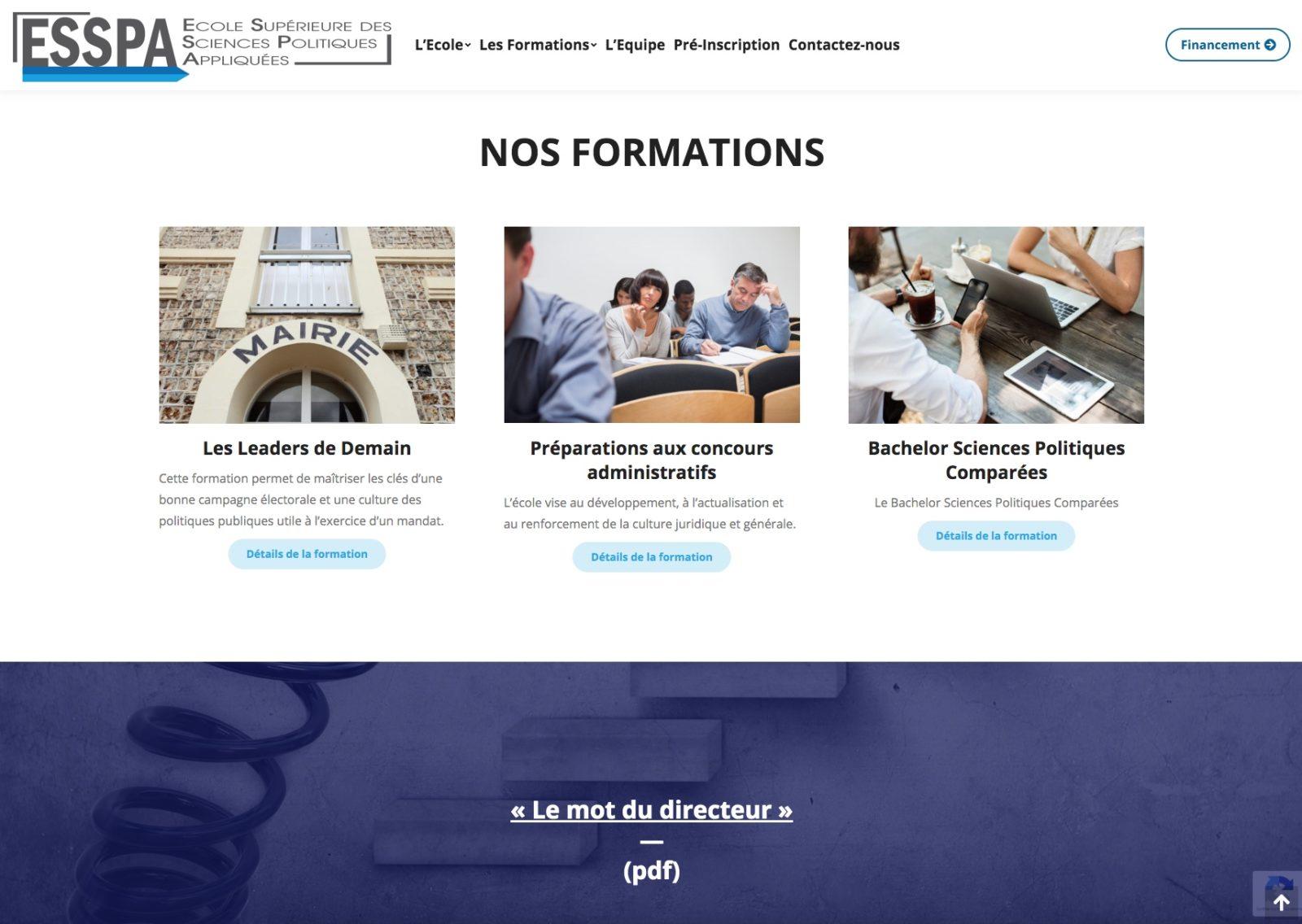 ESSPA nos formations, une école situé sur Mulhouse de l'agence web Karedess.