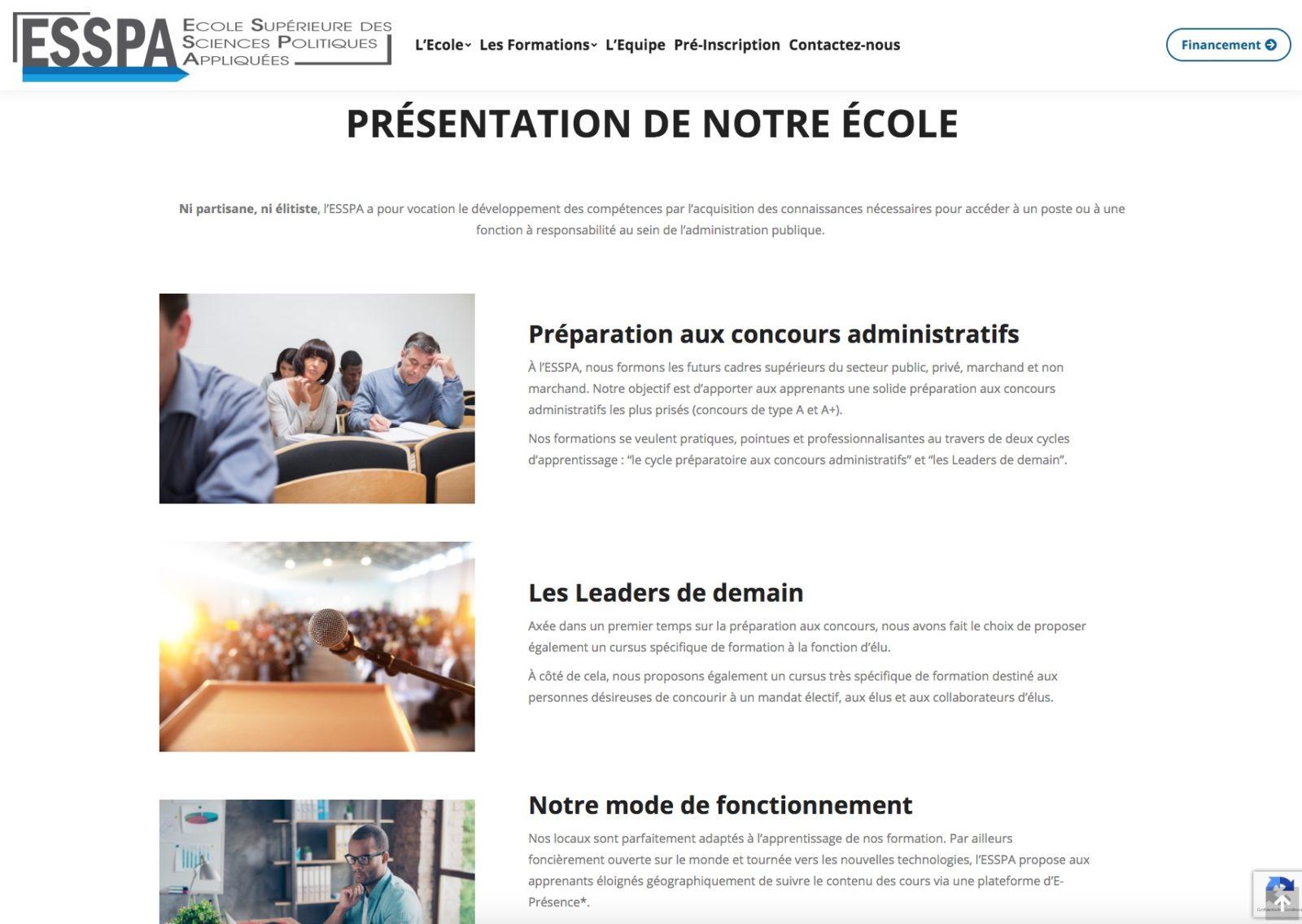 ESSPA, une école aux multiples formations, un client Karedess, agence web situé à Mulhouse