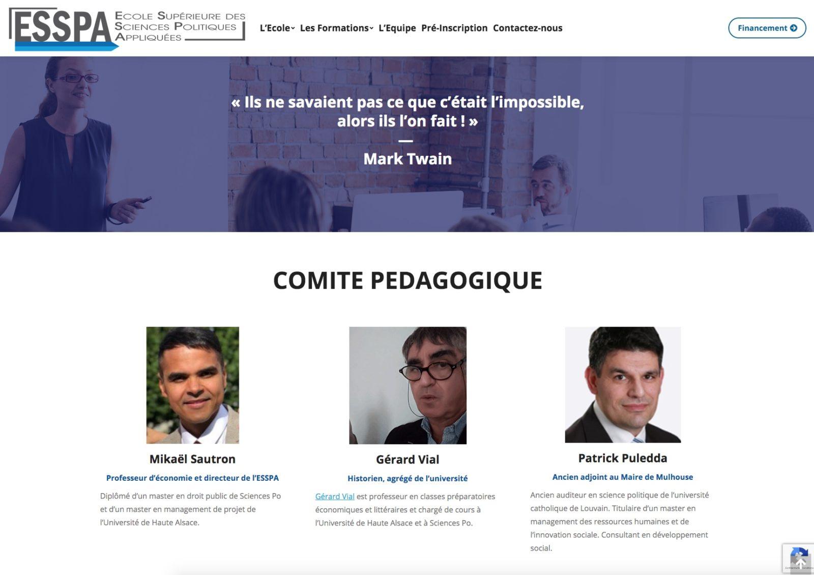 ESSPA, comité pédagogique, une école de Mulhouse, client Karedess agence web situé à Mulhouse
