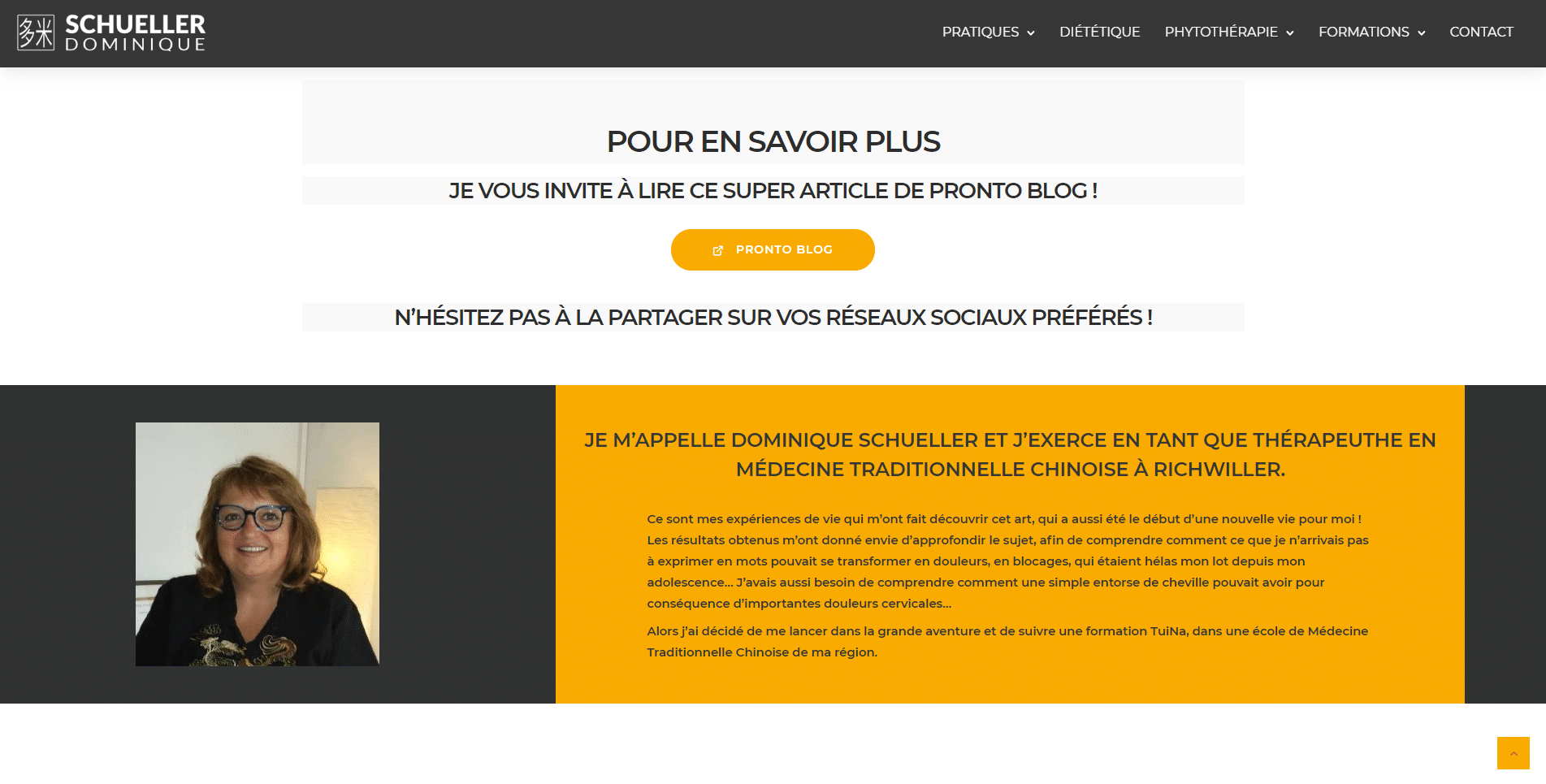 Dominique Schueller, traitements efficaces et naturels, client Karedess, une agence web situé à Mulhouse